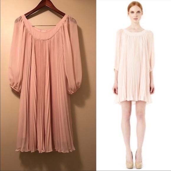 b6c0273057c Erin Featherston Blush Pink Chiffon Pleated Dress
